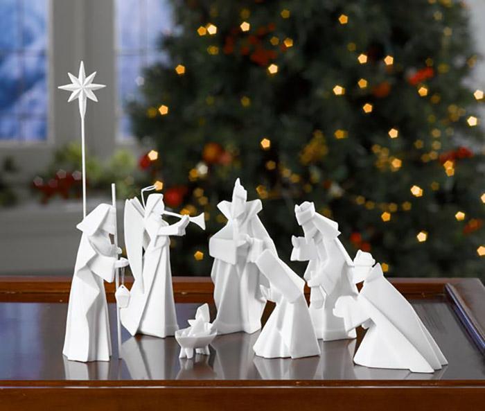 Рождественский вертеп в технике оригами