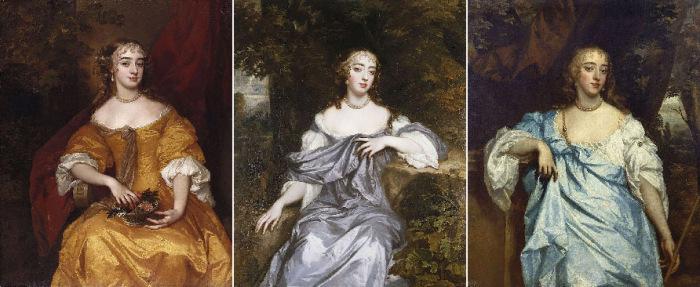 «Виндзорские красавицы»: Маргарет Брук, леди Дэнем; Фрэнсис Брук, леди Уитмор; Мэри Бэгот, графиня Фалмут