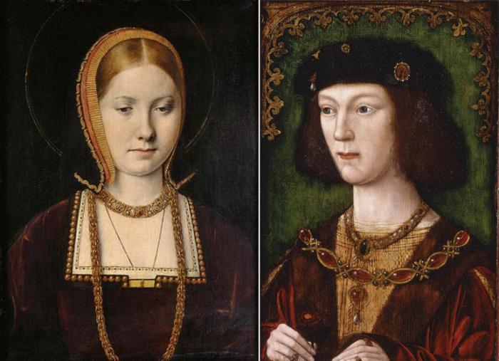 Молодая Екатерина Арагонская и Генрих VIII в молодости, в год вступления на престол