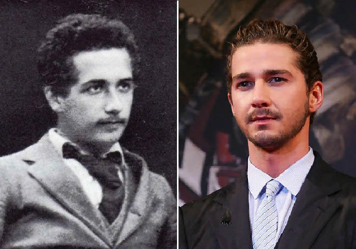 Молодой Альберт Эйнштейн и Шайа Лабаф