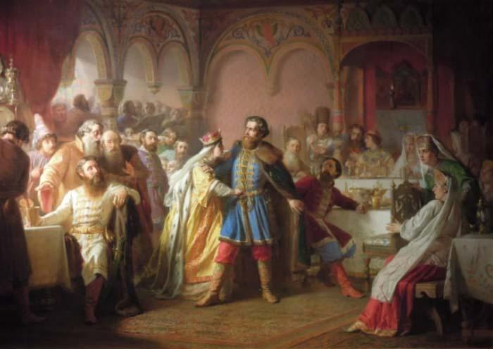 Картина на тему скандальной свадьбы В. П. Верещагина, 1861 год