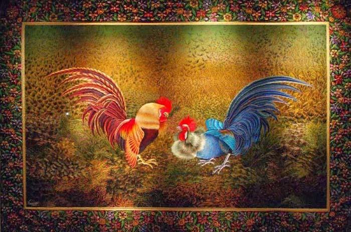 Вышивка «Бой петухов», мастер Шамсуддин