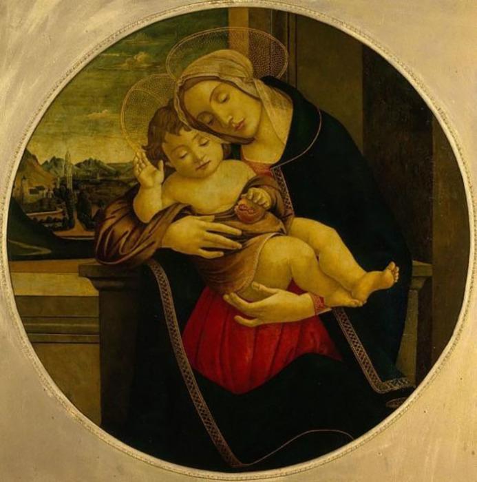 Школа Боттичелли. Мадонна с младенцем, первая половина XVI века. До 1918 года находилась в собрании князей Мещерских.