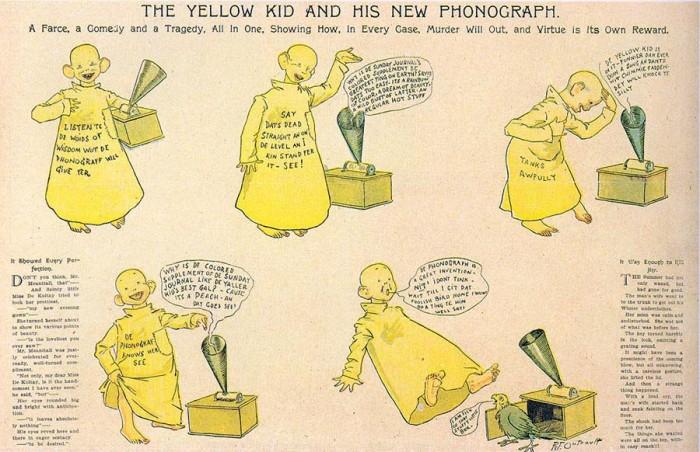 «Желтый малыш» - герой злободневных комиксов. Благодаря ему появилось выражение «желтая пресса».