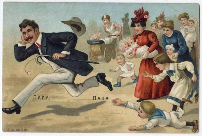 Открытка конца XIX века на тему семьи