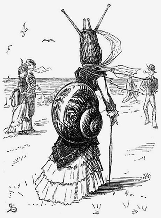 Карикатура на турнюр из сатирического журнала «Панч». 1870 год