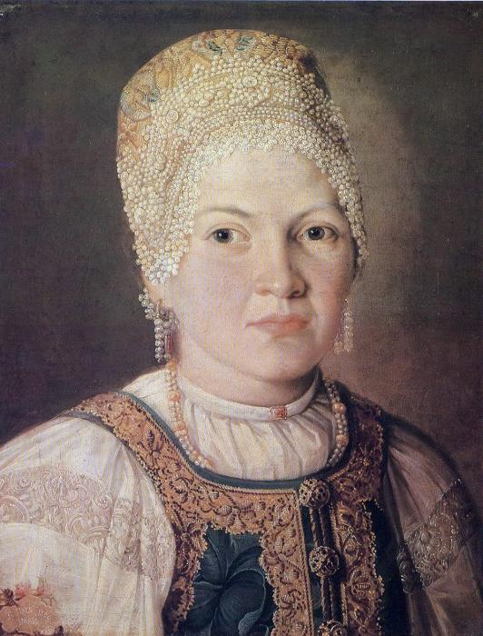 Неизвестный художник, «Портрет женщины в русском народном головном уборе», 1769