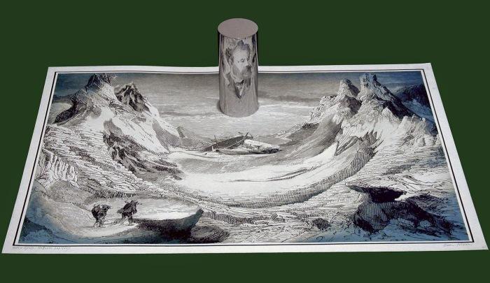 Иштван Орос, «Таинственный остров». В отражении возникает портрет Жюля Верна