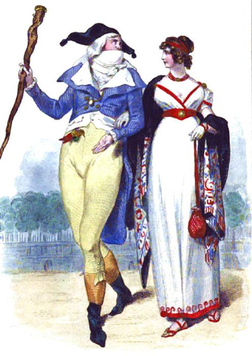 Элегантная пара инкруаябль и мервейёз, иллюстрация H. Baron, французское издание 1843 года