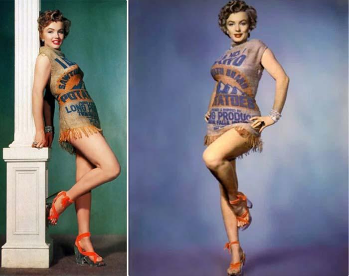 Фотографии Мэрилин Монро в платье из картофельного мешка