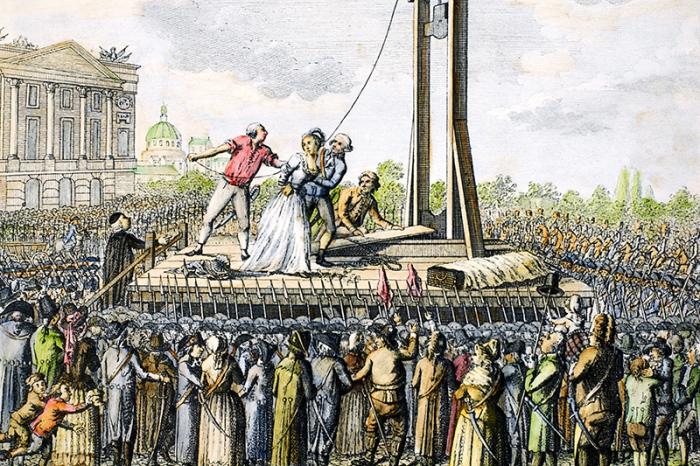 Казнь на гильотине. Раскрашенная гравюра XVIII века