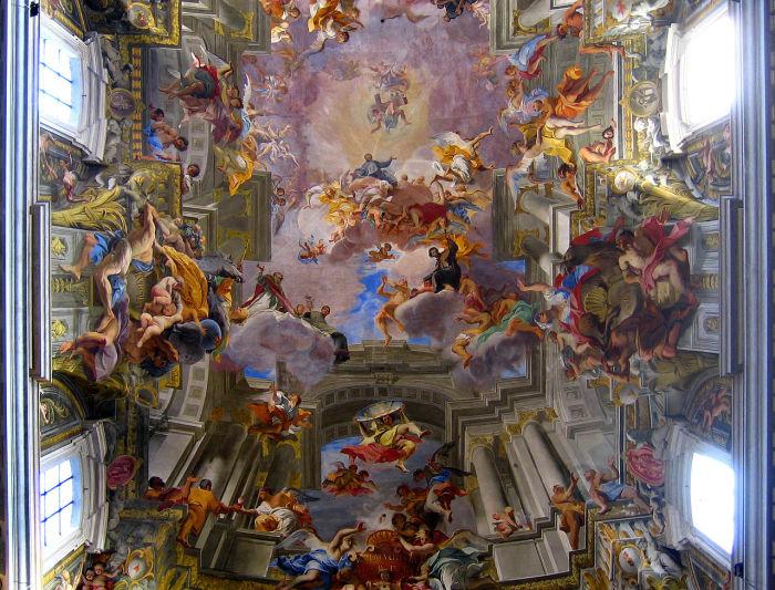 Расписной потолок Андреа Поццо в церкви Святого Игнацио, 1690 г.