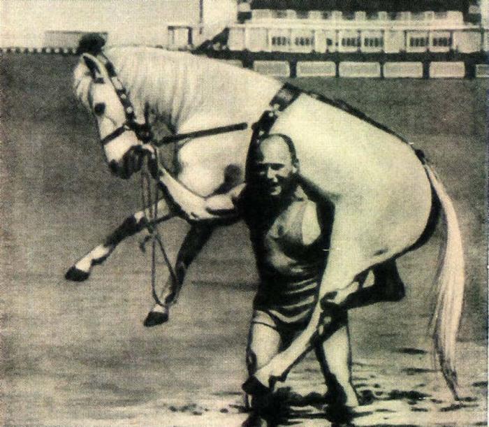 Александр Засс выполняет свою любимый номер с конем