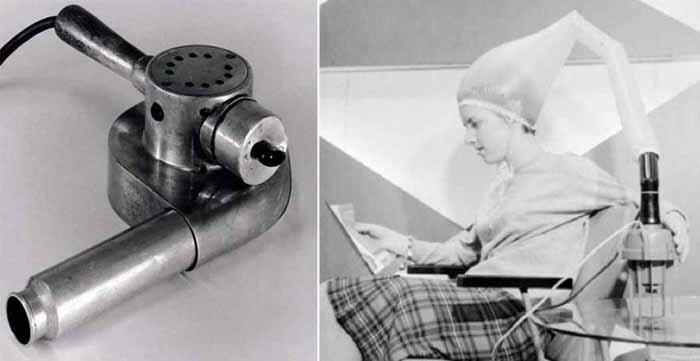 Одна из первых моделей фена с деревянной ручкой и приспособление для быстрой сушки волос