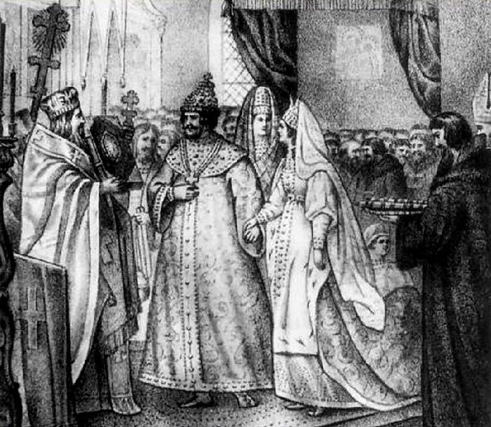 Венчание Ивана III с Софьей Палеолог в 1472 г. Гравюра XIX в