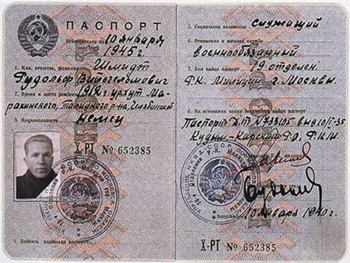 Паспорт, выданный Николаю Кузнецову на чужое имя