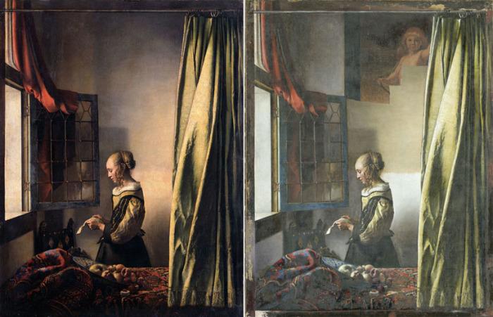 Ян Вермеер, «Девушка с письмом у окна» - общеизвестный вариант и картина в процессе реставрации