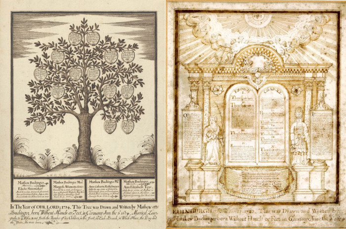 Рисунки пером и чернилами на пергаменте Маттиаса Бухингера: «Генеалогическое древо» (1734) и из цикла «Десять Заповедей» (1720)