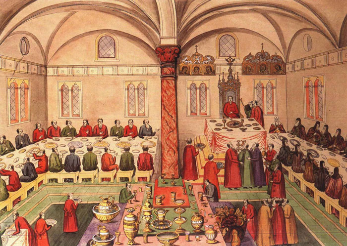Царский пир в Грановитой палате Московского Кремля, миниатюра, 1673 год