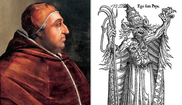 Александр VI, портрет из серии Джовио и гравюра - карикатура на папу