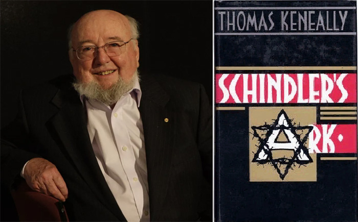 Томас Кенелл и обложка первого издания романа «Ковчег Шиндлера», вышедшего в 1982 году
