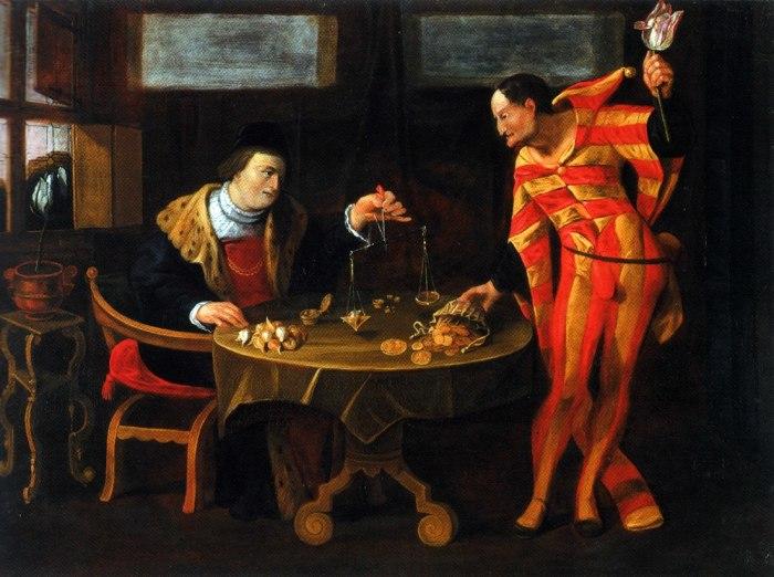 «Торговец и тюльпаноман», картина-карикатура середины XVII века