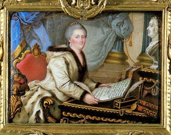 Портрет Екатерины II с «Наказом» в руках