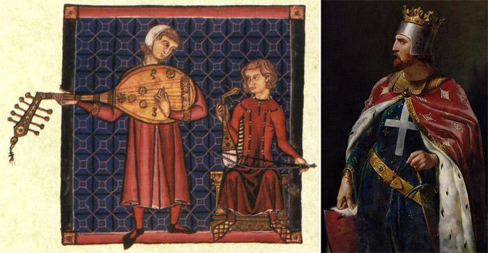Ричард Львиное Сердце и средневековая миниатюра, изображающая менестрелей