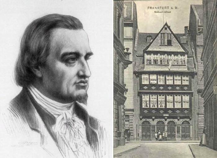 Основатель династии банкиров Майер Амшель (Аншель) Ротшильд и родовой дом Бауэров на еврейской улице во Франкфурте, Германия