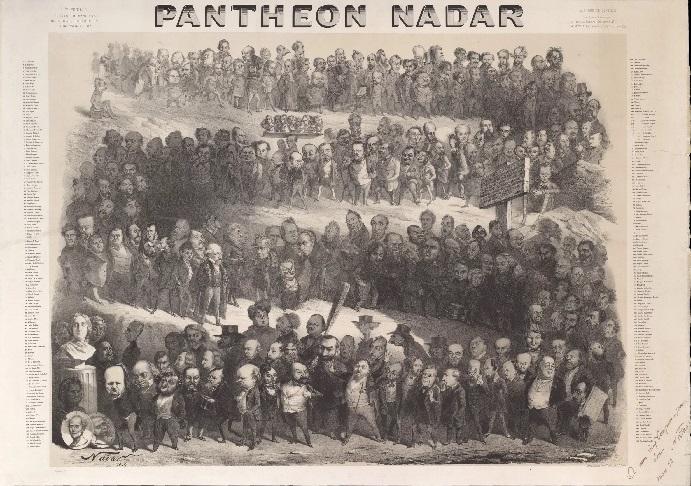 «Пантеон Надара» - литография с шаржированными портретами знаменитых французских писателей