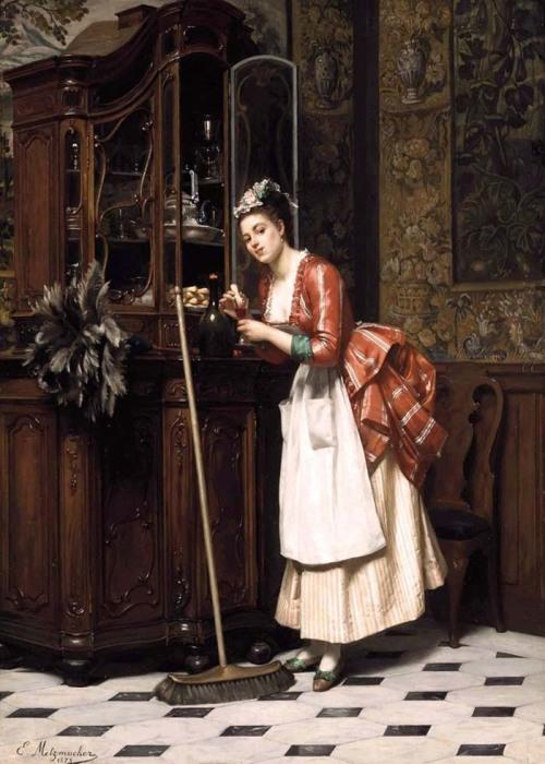 Эмиль Пьер Метцмахер, «Горничная у буфета», Франция,  конец XIX века