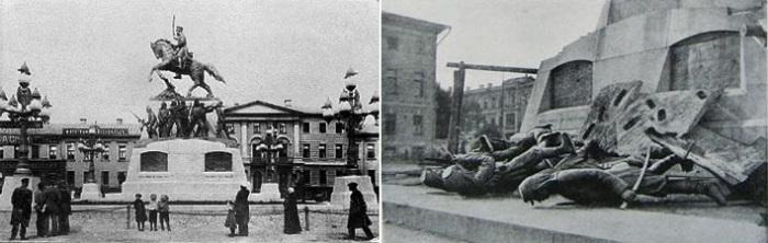 Памятник М. Д. Скобелеву (скульптор П. А. Самонов), на площади Скобелева (Тверская), Москва, 1910-е годы и демонтаж этого монумента в 1918 году