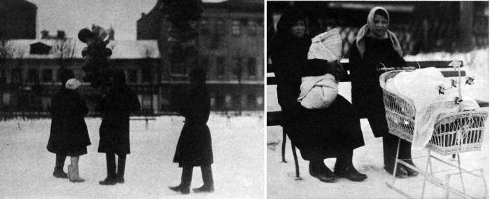 Воздушные шарики продаются даже при тридцати градусов ниже нуля, а маленьких большевиков выносят подышать свежим воздухом, закутывая их в плотные одеяла с головой, что заставляет задуматься над определением «дышать».