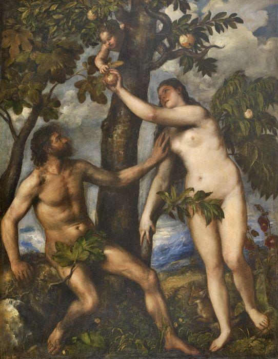 Адам и Ева, прикрывающие свою наготу фиговыми листами на картине Тициана