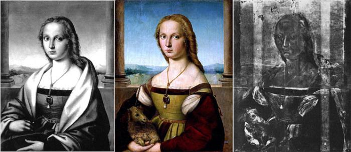 Варианты картины «Дама с единорогом»: до реставрации 1930 года, современный вариант и слой с собачкой, сфотографированный в рентгеновских лучах