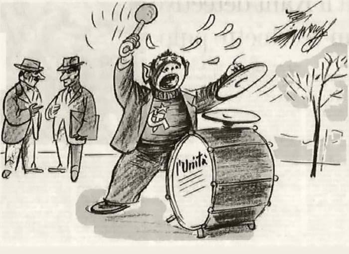 Карикатура Джованнино Гуарески из журнала Candido от 19 апреля 1959 года изображает коммунистов как «Trinariciuto»