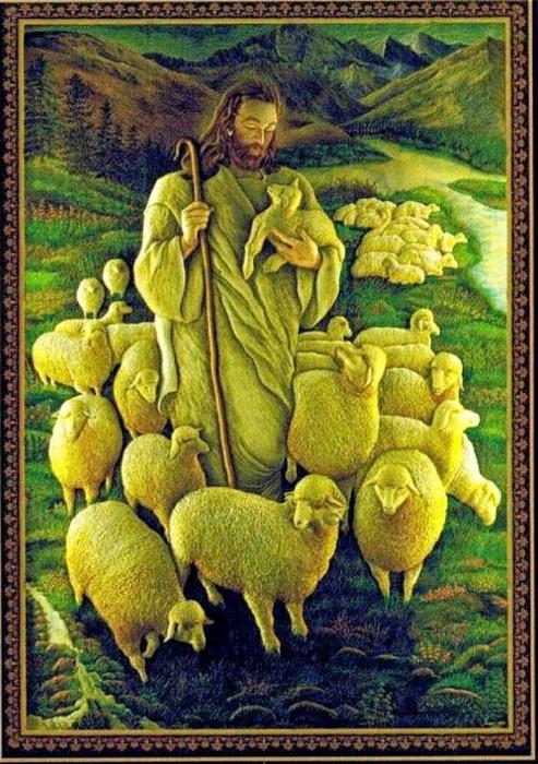 Вышивка «Добрый пастырь» (2,52×1,9 м), мастер Шамсуддин, техника объемного Зардози