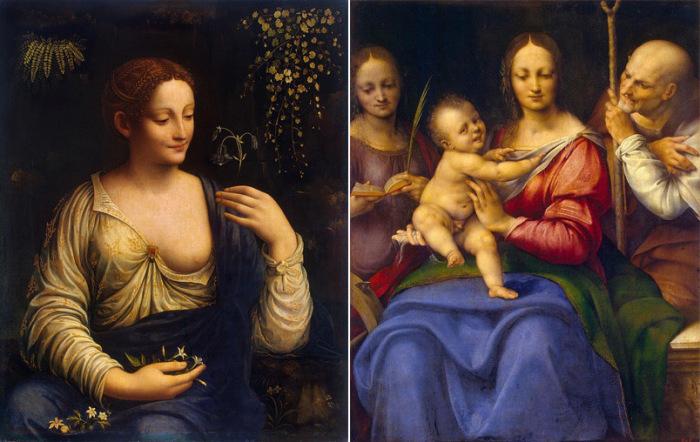 «Флора» кисти Мельци и «Святое семейство» неизвестного художника ранее приписывались Леонардо да Винчи