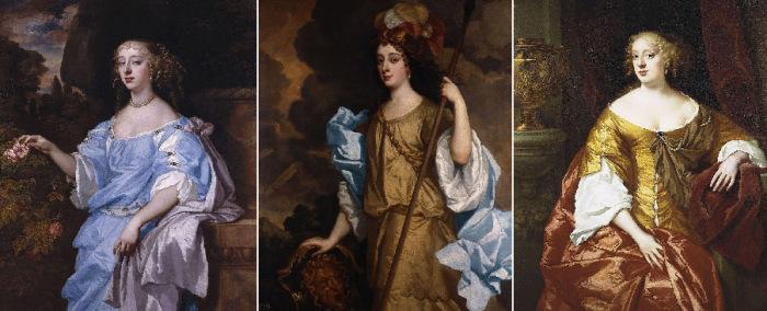 «Виндзорские красавицы»: Генриетта Бойл, графиня Рочестер, Барбара Вильерс, 1-я герцогиня Кливлендская; Анна Дигби, графиня Сандерленд