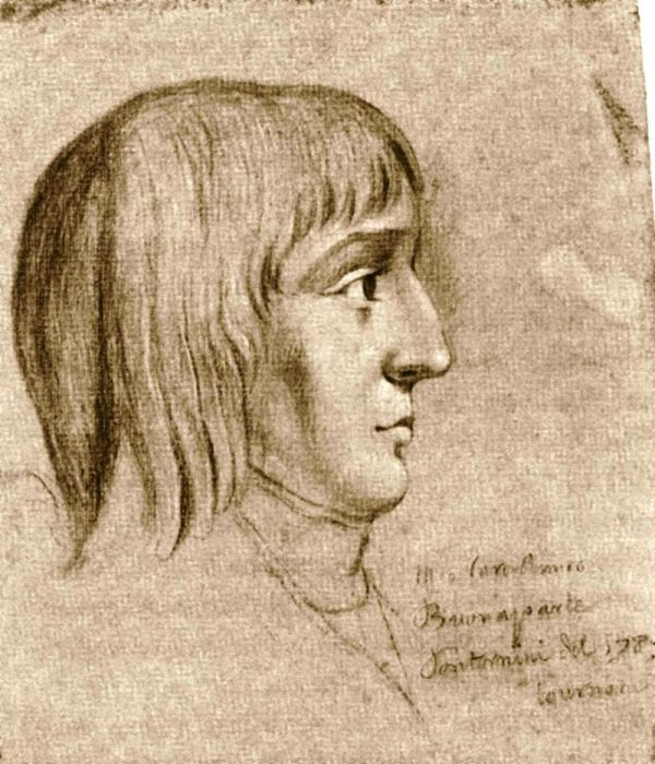 Наполеон в возрасте 16 лет (рисунок чёрным мелом неизвестного автора)