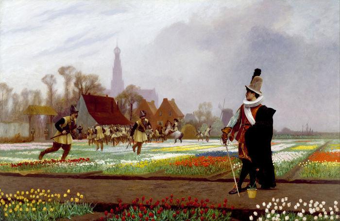 Жан-Леон Жером, «Тюльпановое безумие», 1882 год. На фоне силуэта мирного голландского Харлема развернулись аллегорические «боевые действия» - солдаты вытаптывают поля тюльпанов.