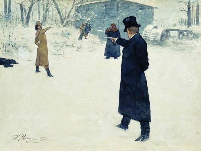 «Дуэль Онегина и Ленского», Илья Репин, 1899 год