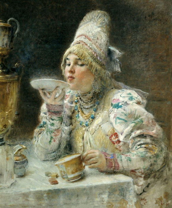 онстантин Маковский, За чаем. 1914