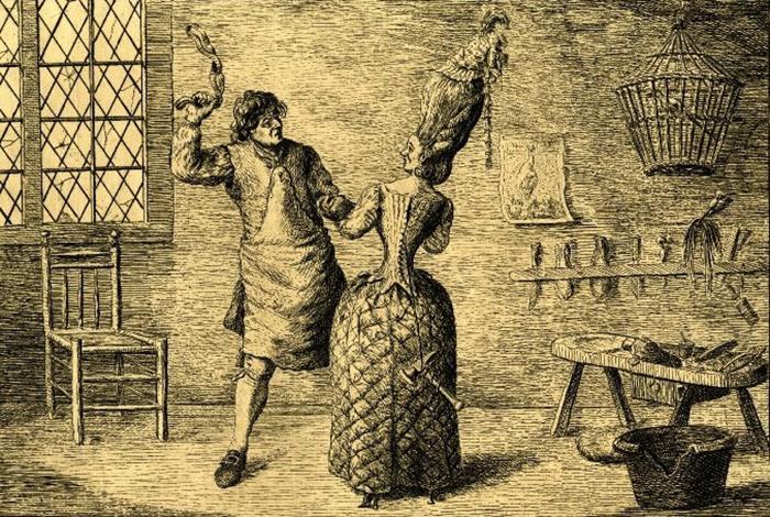 Тугая шнуровка, или Жена сапожника прифрантилась. Английская карикатура. 1777 год