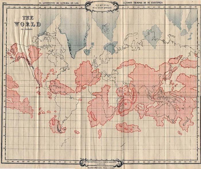 Карта Лемурии в ее поздний период, изображенная поверх современного расположения материков. Приложение к первому изданию книги У. Скотта-Эллиота «История Лемурии и Атлантиды» (1896)