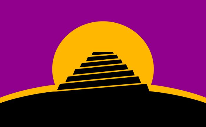 Флаг искусственных языков - Вавилонская башня на фоне восходящего солнца