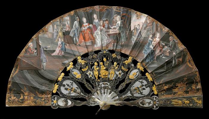 Голландия 1750-е гг. На веере сценки из городской жизни