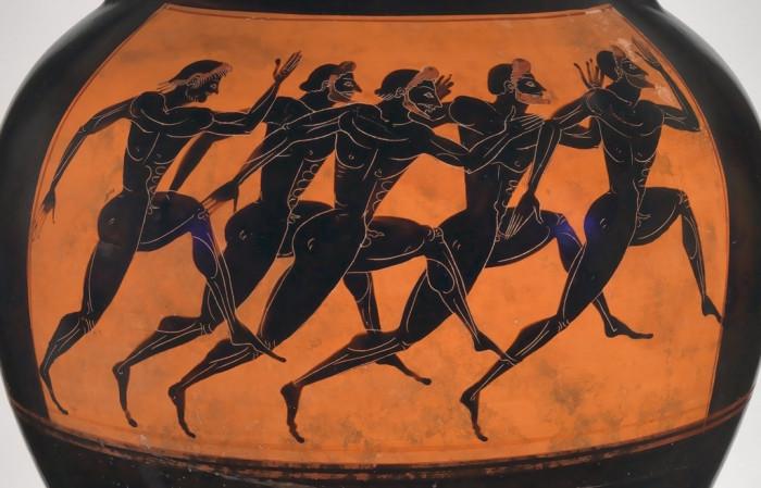 Роспись древнегреческой амфоры, «Бегуны»