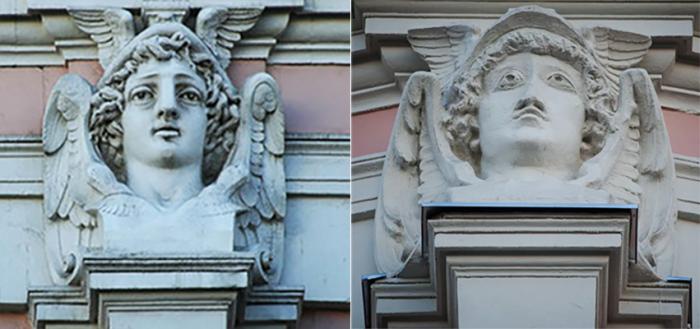 Меркурий на доме Кузнецова до и после реставрации