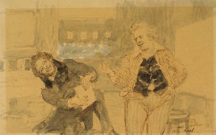 Второй рисунок «Пушкин у Карла Брюллова», 1918 года